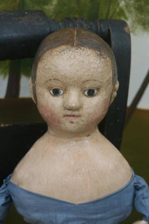 A reproduction Izannah Walker dolls that I have made. A full set of comprehensive measurements for this head, plus 1 additional head, is included in the sculpting section of my class.