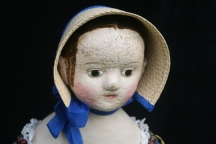 A reproduction Izannah Walker dolls that I have made. A full set of comprehensive measurements for this head, plus 1 additional head, is included in the sculpting section of my class. Bonnet pattern is not included in class instruction booklet by instructions are available on the class page.